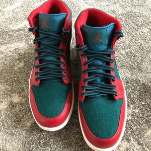 f44b5b6c9ceaf7 Nike Shoes - Fuzzy Air Jordan 1 Mid in GYM Red Black Dark Sea